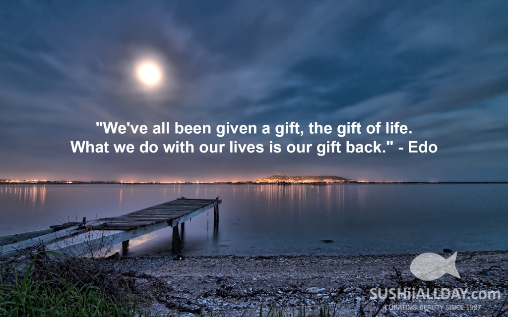 """We've all been given a gift, the gift of life. What we do with our lives is our gift back."" - Edo"
